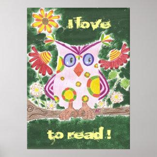 Poster J'aime lire l'affiche de hibou