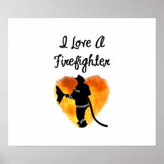 Poster J'aime un sapeur-pompier