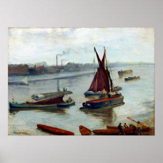 Poster James McNeil Whistler vieux Battersea argenté gris