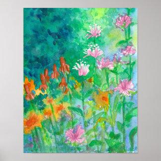 Poster Jardin d'agrément d'aquarelle de rose de baume