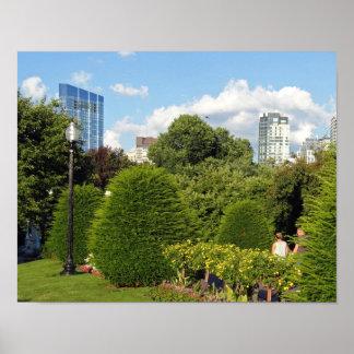 Poster Jardin public et gratte-ciel Boston du centre