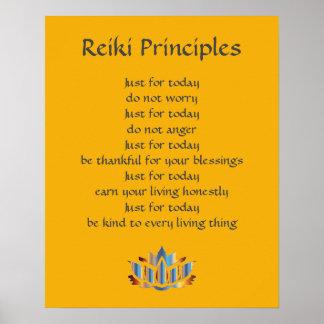 Poster Jaune de principes de Reiki/moutarde /Gold Lotus