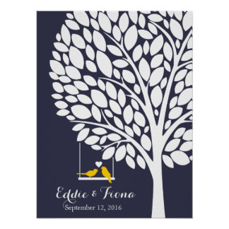 Poster jaune d'oiseau d'arbre de livre d'invité de