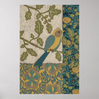 Poster Jaune et oiseau bleu turquoise étés perché sur une
