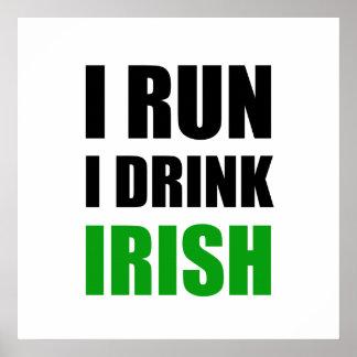 Poster Je cours des Irlandais de boissons