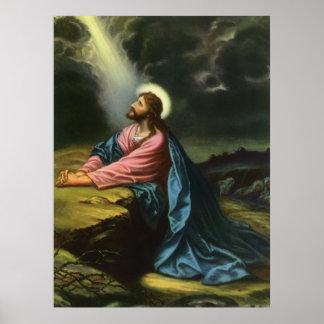 Poster Jésus-Christ vintage priant dans Gethsemane