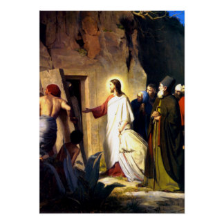 Poster Jésus élevant Lazarre des morts
