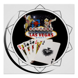 Poster Jeton de poker de noir de signe bienvenu
