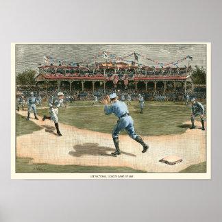 Poster Jeu de baseball 1886 de ligue nationale