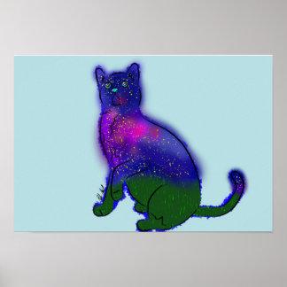 Poster Jeu de chat de galaxie