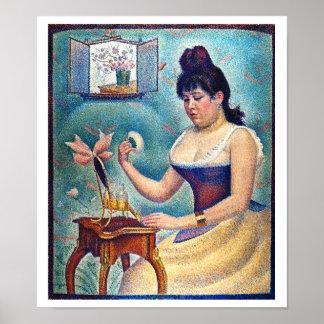 Poster Jeune femme se saupoudrant