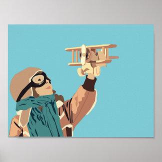 Poster Jeune fille avec l'affiche plate en bois
