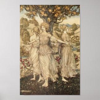 Poster Jeunes filles autour d'un arbre