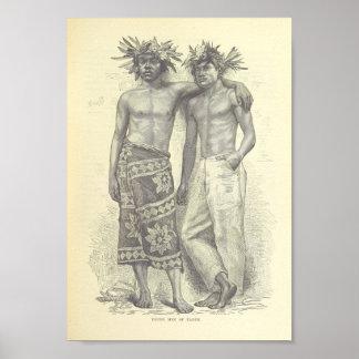 Poster Jeunes hommes du Tahiti