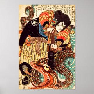 Poster Jiraiya et beaux-arts de Japonais de Kuniyoshi de