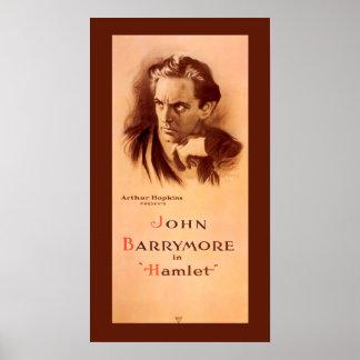 Poster John Barrymore en affiche 1922 de Hamlet Broadway