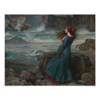 Poster John William Waterhouse - Miranda - la tempête