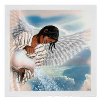 Poster Joie au monde. Copie d'art de peinture d'ange