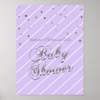 Poster Joli baby shower de lavande et d'argent