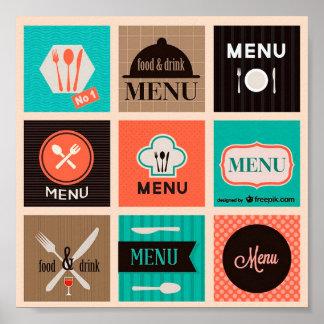 Poster Jolie Affiche Décorative Menu Food