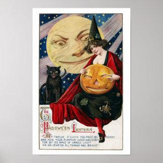 Poster Jolie sorcière vintage et Jack O'Lantern de