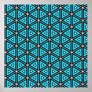 Poster Jolis blanc, noir et motif carrés de turquoise