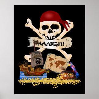 Poster Jolly roger, bateau de pirate et coffre du pirate