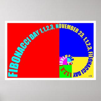 Poster Jour de Fibonacci, 1,1,2,3, le 23 novembre