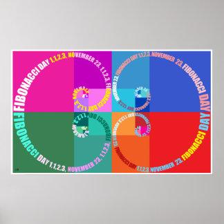 Poster Jour de Fibonacci, art de bruit, typographique