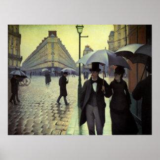 Poster Jour pluvieux de rue de Paris par Gustave