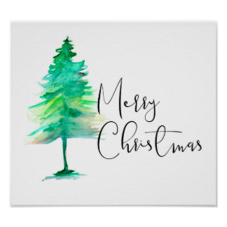 Poster Joyeux Noël, aquarelle Pinetree, manuscrit