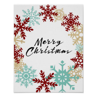 Poster Joyeux Noël - guirlande de flocon de neige -