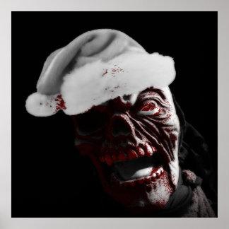 Poster Joyeux zombi sanglant Père Noël de Halloween
