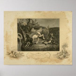 Poster Jument de cheval défendant sa copie vintage d'art