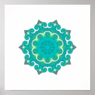 Poster Kaléidoscope turquoise de Bohème du mandala   de