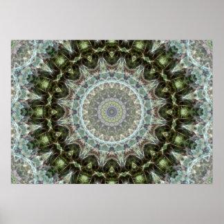 Poster Kaléidoscope vert givré complexe de feuille