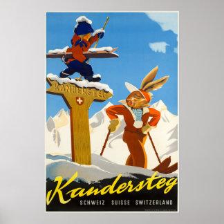 Poster Kandersteg, Suisse, affiche de voyage de ski