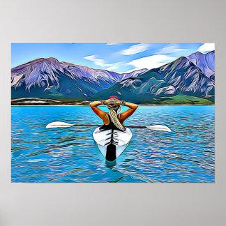 Poster Kayaking sur l'océan par l'affiche de montagnes