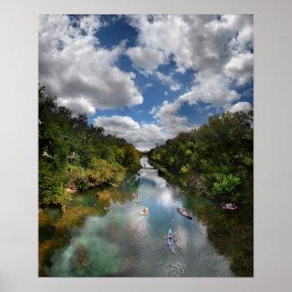 Poster Kayaks de crique de Barton - Austin le Texas