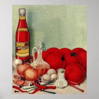 Poster Ketchup italien vintage de poivrons d'oignons de
