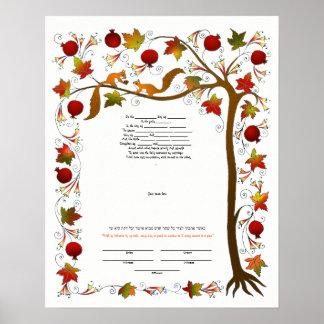 Poster Ketubah avec l'arbre de la vie dans l'automne,