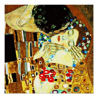 Poster Klimt - le baiser (plan rapproché), peinture de Gu