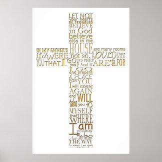 Poster La bible d'or croisée chrétienne exprime l'affiche