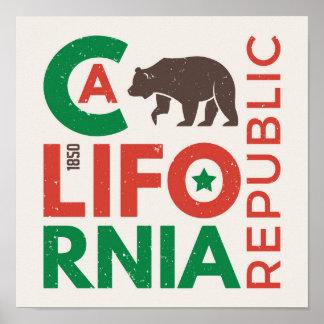 Poster La Californie avec le logo d'ours gris