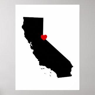 Poster La Californie noire et blanche avec le coeur rouge