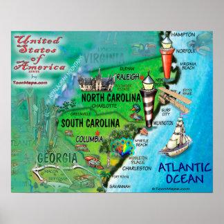 Poster La Caroline du Nord la Caroline du Sud Etats-Unis