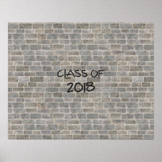 """Poster La classe de la brique de 2018 gris """"écrivent sur"""