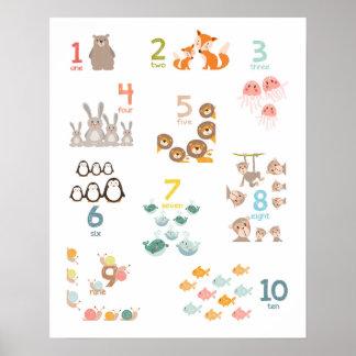 Poster La copie de crèche de nombres d'animal numérote