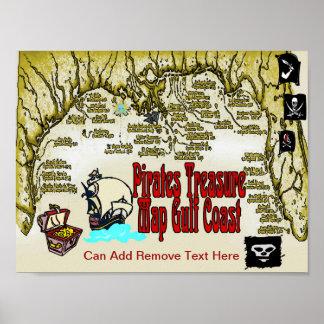 Poster La Côte du Golfe pirate la carte de trésor