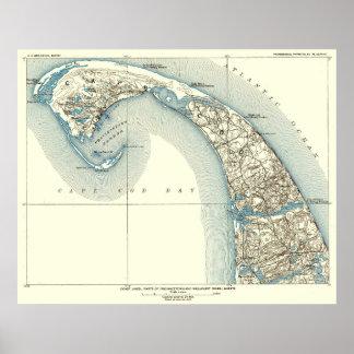 Poster La côte raye le 10:8 de Provincetown Truro